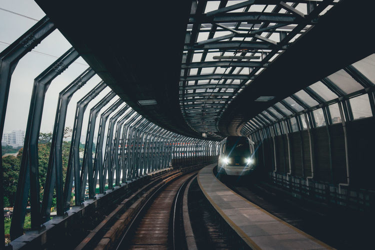 Arch Architecture Bridge Built Structure Ceiling Diminishing Perspective Direction Long Mode Of Transportation No People Outdoors Public Transportation Rail Transportation Railroad Station Railroad Station Platform Railroad Track Station Subway Train The Way Forward Track Train Train - Vehicle Transportation Travel