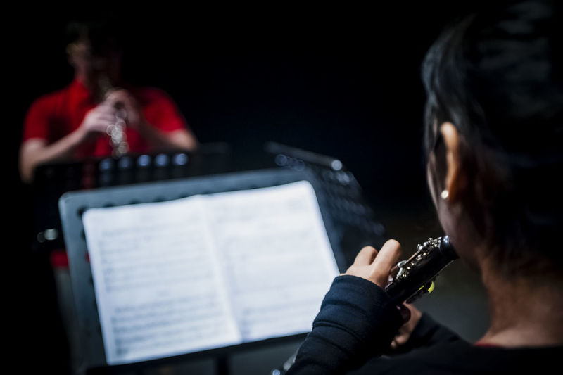 People Playing Clarinet In Recording Studio