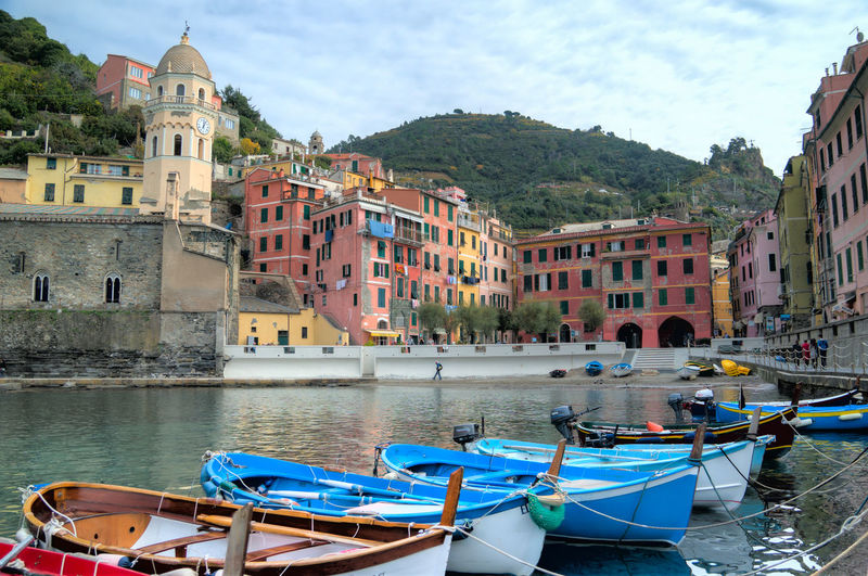 Architecture Boat Building Building Exterior Built Structure Canal Cinque Terre City Cloud Cloud - Sky Day Italy Italy❤️ Mode Of Transport Mountain Nautical Vessel Outdoors Residential Building Residential Structure Sky Town Travel Travel Destinations Vernazza Water