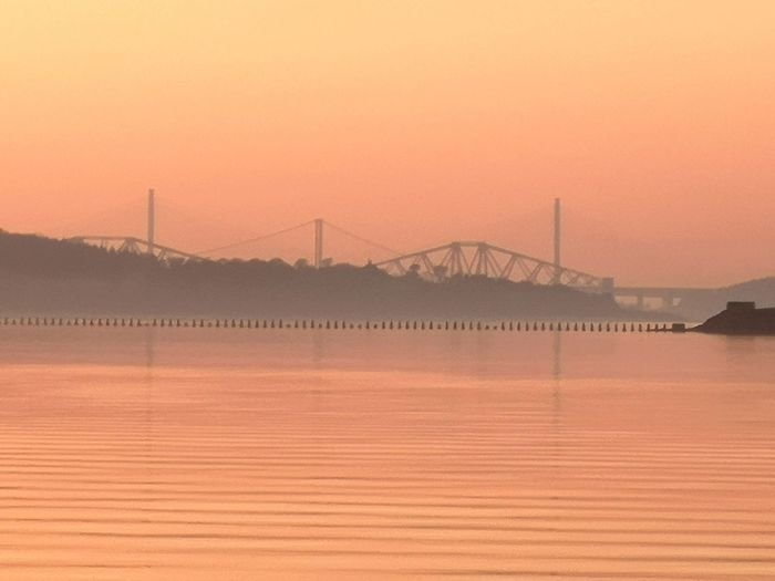Bridge ForthRoadBridge  ForthRailBridge Queensferrycrossing Sunset Fog Pink Color Cold Temperature Pastel Colored Water