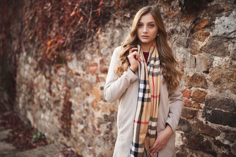 Portrait Outdoors Beautiful Woman Brick Wall One Person Looking At Camera Brick Wall Long Hair Young Adult Beauty Fashion Pretty Film Vintage Retro People Caucasian Blonde Brown Hair Scarf Coat Girl Warm Clothing Attractive International Women's Day 2019