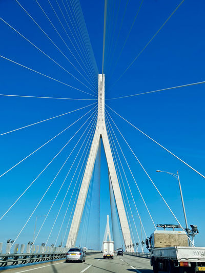 Road Vivid Architecture Blue Blue Sky Bridge Bridge View Built Structure Cable Cable-stayed Bridge Car Motor Vehicle Sky Suspension Bridge Travel Truck Summer Road Tripping The Traveler - 2018 EyeEm Awards EyeEmNewHere