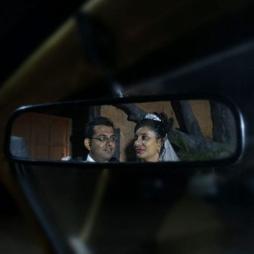 Looking back at their Wedding Night Tags : ➡ Rearview Rearviewmirror Couple justmarried aisletolife broandsisinlaw reflection driversview october3rd