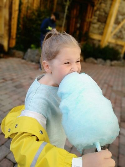Happyness Cottoncandy Sugar Blue Yellow Park No Edit/no Filter Huaweiphotography Leicacamera Real People Sweden Summertime Light Skin Child Childhood Smiling Girls Portrait Playing Close-up Only Girls Innocence