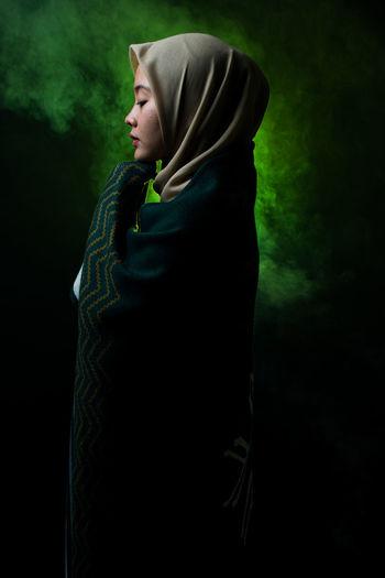Clothing Dark Depression - Sadness Emotion Hijab Hijabbeauty Hijabfashion Hijabstyle  One Person Portrait Profile View Standing Studio Shot Women