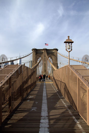 Architecture Bridge Bridge - Man Made Structure Building Exterior Built Structure City Connection Day Footbridge Large Group Of People Lifestyles Men Nature New York City Outdoors People Railing Real People Sky Suspension Bridge The Way Forward Tourism Travel Travel Destinations Women