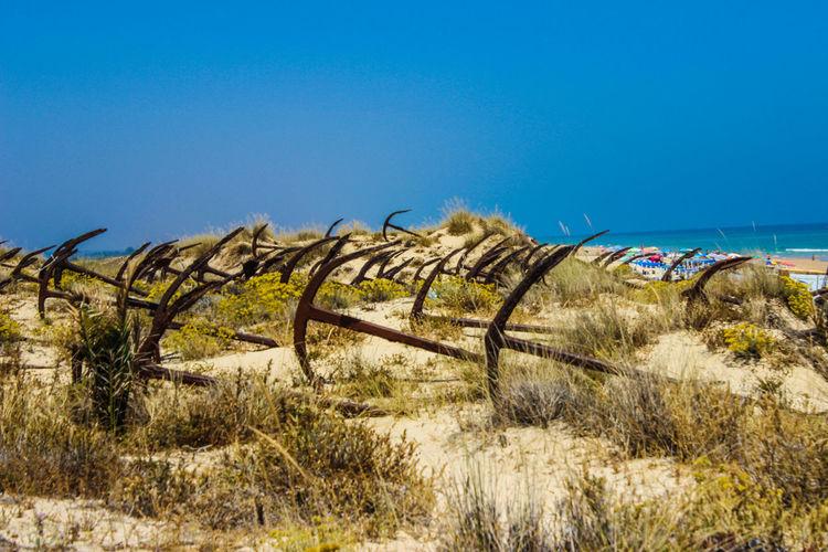 Abandoned anchors on beach against clear blue sky