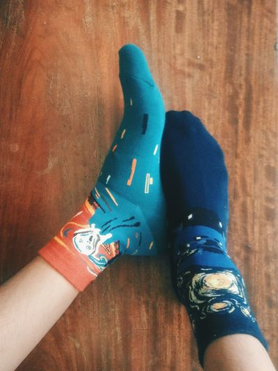 One Person Close-up Feet Socks Patterned Socks Starry Starry Night The Scream Classic Painting Painting Classic Footwear Wood Art Artist Design Vincent Van Gogh Young Adult Creative Foot Shoes Human Body Part Human Feet Toes Clothing Clothes