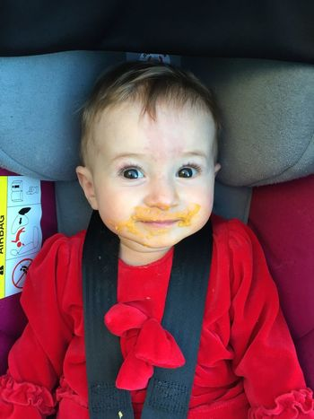 Baby with messy face 9 Months Old Baby Baby Car Eating Messy Face Messy Face Kid Stroller Toddler  Toddlerlife