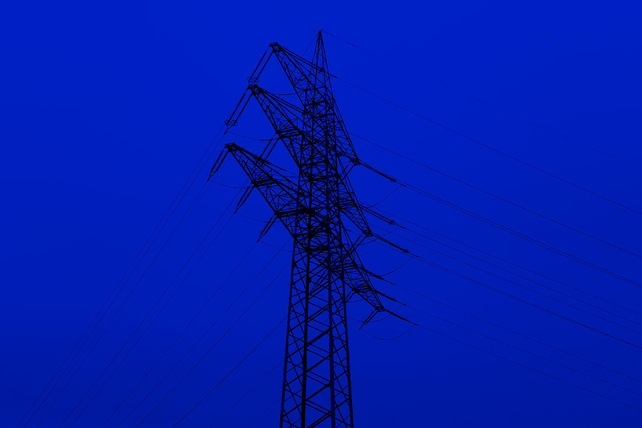 cable, connection, electricity pylon, electricity, power supply, power line, blue, fuel and power generation, no people, low angle view, day, technology, clear sky, outdoors, tall, sky