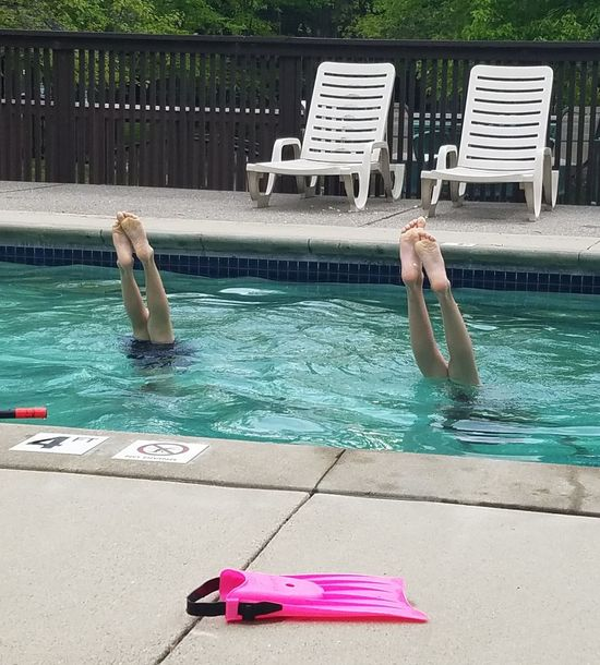 Pool handstands Water Outdoors Swimming Pool Live For The Story Kids Being Kids Sibling Rivalry Handstands Summer