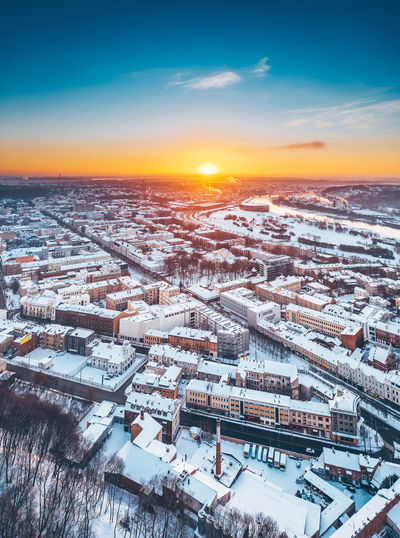 Kaunas, winter sunrise Drone  Aerial View Aerial Mavic 2 Mavic 2 Pro Drone Photography DJI X Eyeem Dji Lithuania Lietuva Europe Winter Wintertime Winter Wonderland Winter Sunrise Architecture Building Exterior Built Structure Sky Snow City Cityscape Cold Temperature No People Nature Building Cloud - Sky High Angle View Residential District Outdoors TOWNSCAPE