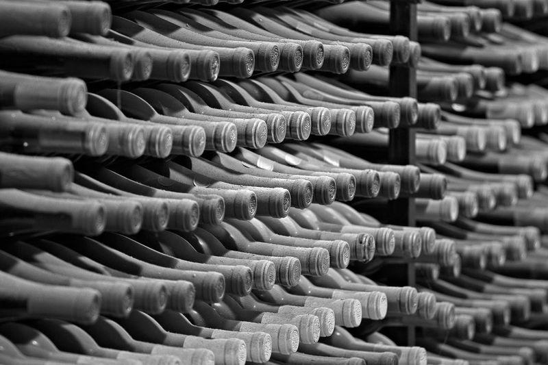 Full frame shot of wine bottles in rack at biltmore estate