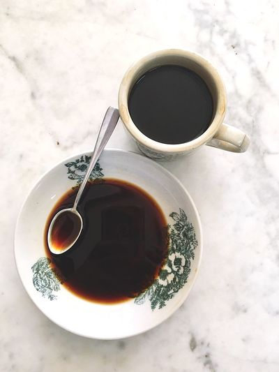 Coffee morning Food And Drink Drink Mug Refreshment Cup Coffee - Drink Coffee Tea Cup Tea - Hot Drink Still Life Black Coffee Spoon Hot Drink Directly Above Table High Angle View Coffee Cup Freshness Tea Indoors