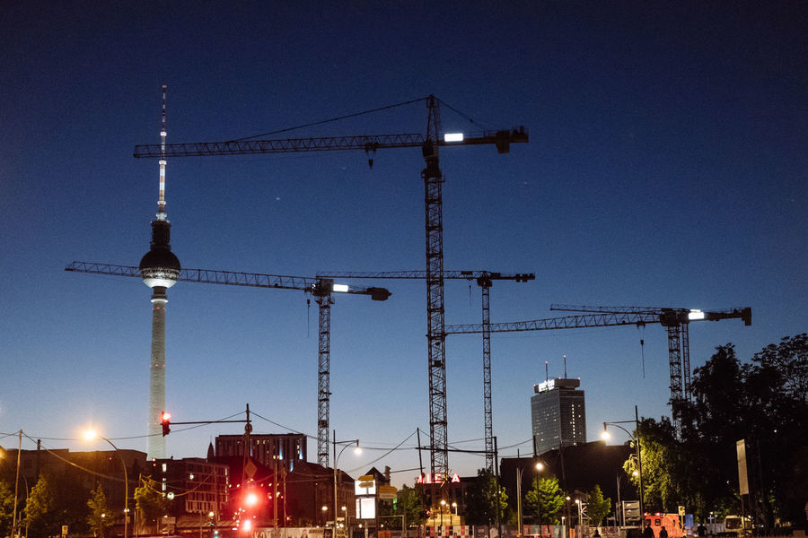 Berlin Berlin Love Berlin Photography City Cityscape Fernsehturm Architecture Berliner Ansichten Building Exterior Built Structure Capital Construction Industry Crane - Construction Machinery Development Illuminated Machinery No People Outdoors Sky Skyscraper Stadtansichten Tall - High Urban Urban Skyline