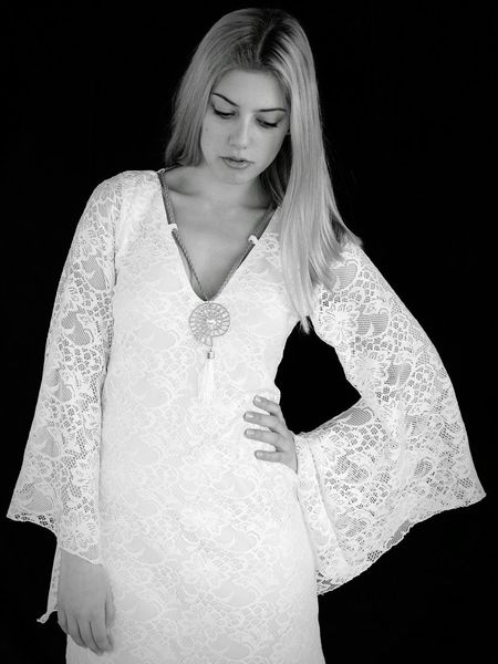 Black And White Photography Fashion Photography Thoughtful Modelgirl Model Pose White Lace Dress