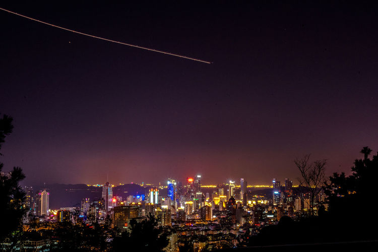 Chance Encounters Night City Illuminated Cityscape No People Midnight Astronomy Plane Airplane Light Trail Plane Trail China ASIA Embrace Urban Life Urban