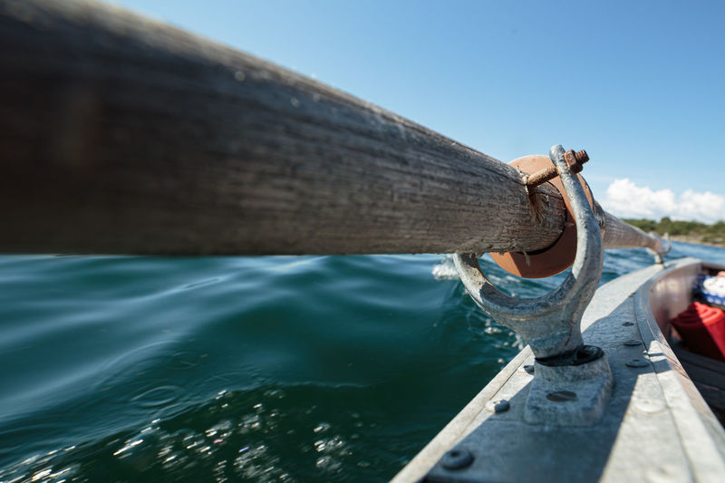 Close up of a wooden oar