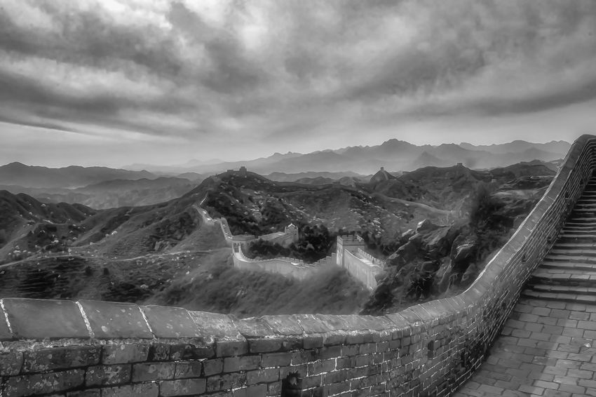 Architecture Beauty In Nature Black & White China China Beauty China View Chinese Architecture Chinese History Chinese Wall Cloud - Sky Eyeem In Beijing EyeEm Landscape Great Wall Of China Historical Monuments Landscape Landscape_Collection Monuments Mountain Mountain Range Nature Outdoors Scenics Sky Tranquil Scene Travel Destinations The Great Outdoors - 2017 EyeEm Awards