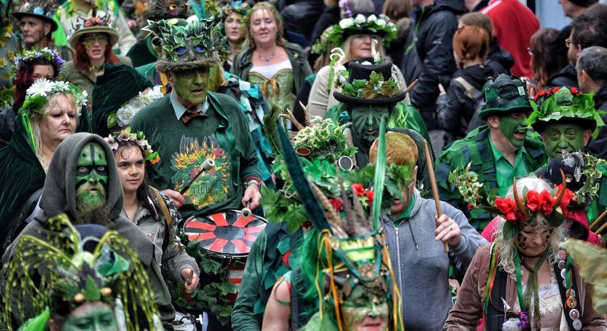 Jack In The Green Festival Jack In The Green May Day 2017 Hastings East Sussex Carnival Pagan Pagan Festival Travel Destinations Tradition Day Outdoors Adult People Adults Only Traditional Dancing Community Cultures Arts Culture And Entertainment Performance Masks Crowd Green Color Rural Scene Horns