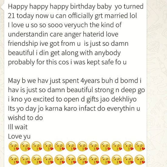 Best bday wish a guy like me would ever get MyBae typos buh who cares i understand Loveyatoo 😘😘😘