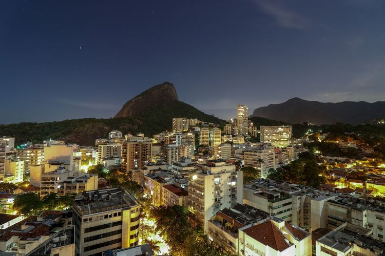 río de Janeiro at night Rio De Janeiro Night Mountain Cityscape Night Stars Sky Lights Long Exposure City Cityscape Astronomy Urban Skyline Illuminated Mountain Skyscraper High Angle View Sky Architecture Downtown District