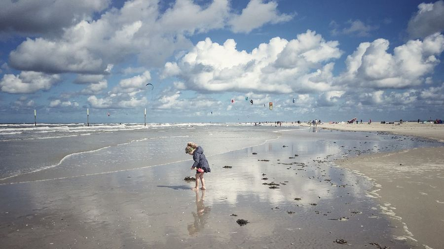 Beach Sand Real People Beauty In Nature Horizon Over Water One Person Childhood Stpeterording Nordfriesland Sea Sky Water Cloud - Sky Nordsee Outdoors Photograpghy  Outside Photography Floating On Water Outdoor Photography Interesting Perspectives