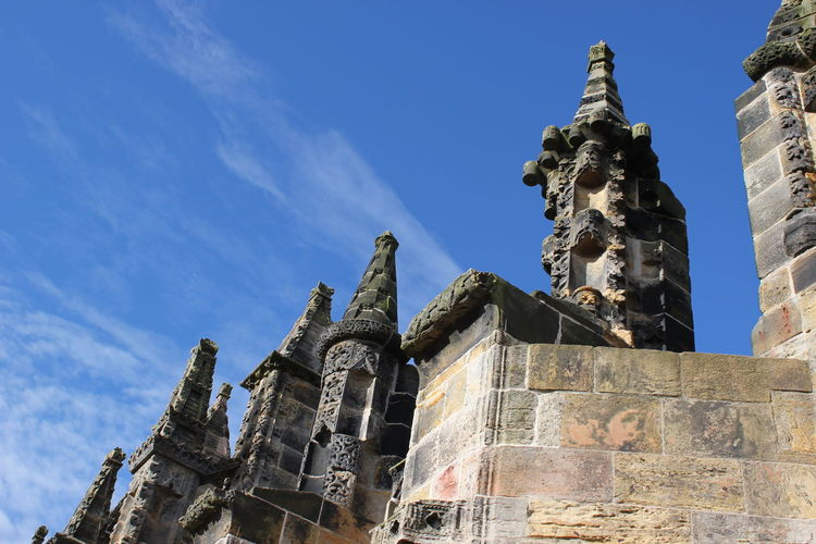 Ancient Architecture Building Exterior Built Structure City Cultures Day Edinburgh History No People Outdoors Place Of Worship Religion Rosslyn Chapel Scotland Sculpture Sky Statue Travel Destinations