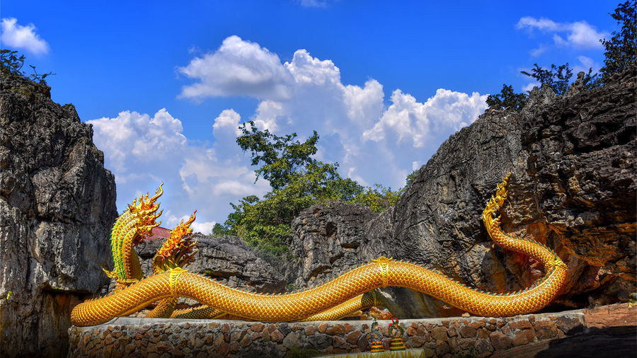 Panoramic view of a reptile against sky
