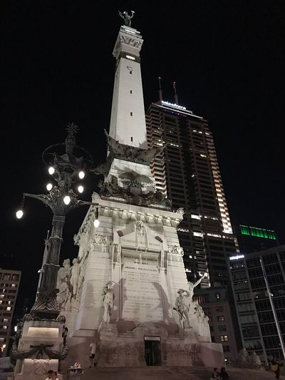 Indianapolis. Night Illuminated Architecture Low Angle View Building Exterior Statue Spirituality Sculpture Built Structure Travel Destinations Outdoors No People Moon Sky Clear Sky City