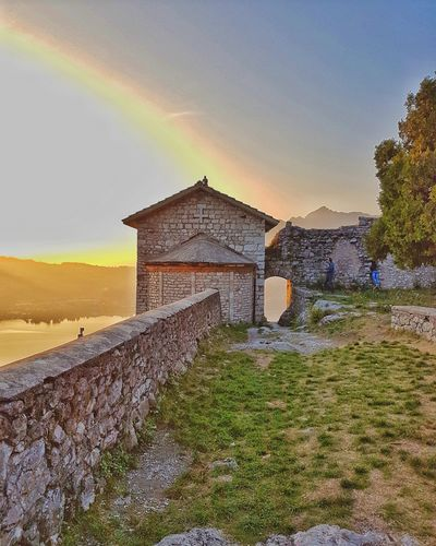 Rainbow on the Innominato Castle Samsung MR7 Rural Scene Agriculture Field Sky Architecture Built Structure Landscape Sunset Orange Color Horizon Over Water Tranquil Scene Sky Only Beauty In Nature Sun