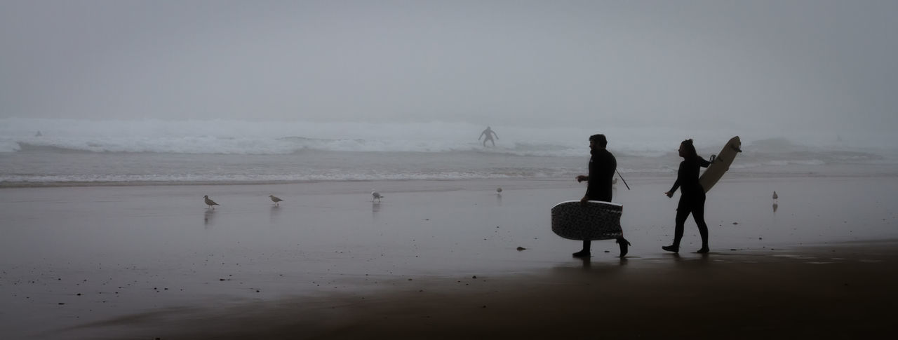 Foggy Surfing Beach Beauty In Nature Coastline Day Fisherman Full Length Horizon Over Water Men Nature Occupation Outdoors People Reflection Sand Scenics Sea Sky Tranquil Scene Tranquility Two People Water Breathing Space