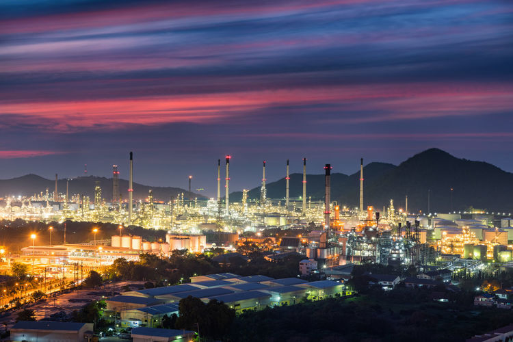 Oil and Gas refinery plant Business Cityscape Construction Fuel Gas Industrial Industry Light Pipeline Plant Power Power Plant Energy Engineering Illuminated Industrial Landscapes Manufacturing Mountain Oil Petrochemical Plant Petroleum Processing Stack Tower Storage Tank Technology