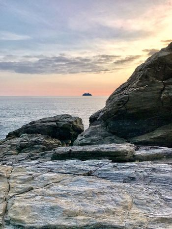 Autumn Sunset Colours Beautiful Sea Sunset Sky Horizon Over Water Nature Beauty In Nature Water Scenics Cloud - Sky Tranquility Tranquil Scene Rock - Object No People Beach Outdoors Day The Week On EyeEm Oseto Japan