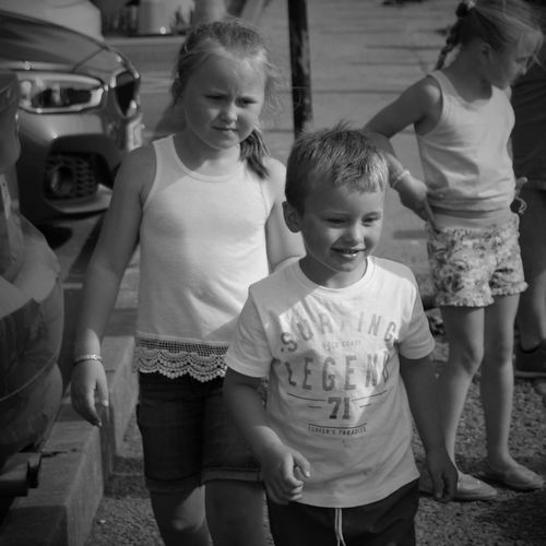 Portrait of two young siblings
