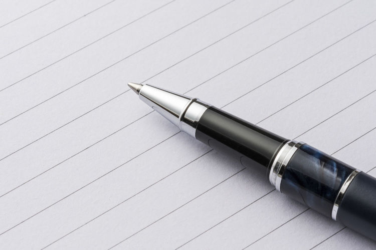 Elegant metal pen on a sheet of paper Business Write Writing Backgrounds Ballpoint Blank Blue Brief Communication Concept Journal Journalism Message Metal Note Note Pad Notebook Office Paper Pen Sheet Stationary Striped Studying Take Notes