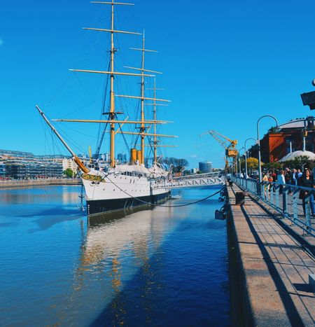 Puerto Madero Architecture Argentina Arts Culture And Entertainment Blue Bluesky Clear Sky Day Harbor Mast Moda Moored Nature Nautical Vessel No People Outdoors Sky Summer Transportation Water First Eyeem Photo