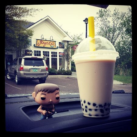 My reward for a hectic day....Bubble Tea. Daryl approves. Love sucking those tapioca balls through the straw ;) Joyces Bubbletea Thewalkingdead Daryl