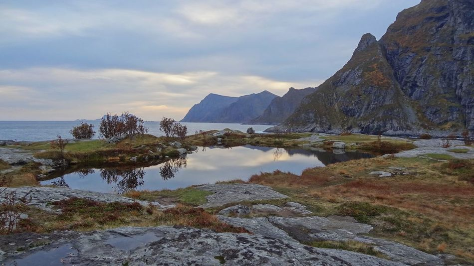 Beauty In Nature Cloud - Sky Day Lake Lofoten Moss Mountain Nature No People Norway Outdoors Rock - Object Scenics Sea Sky The Great Outdoors - 2017 EyeEm Awards Tranquil Scene Tranquility Water