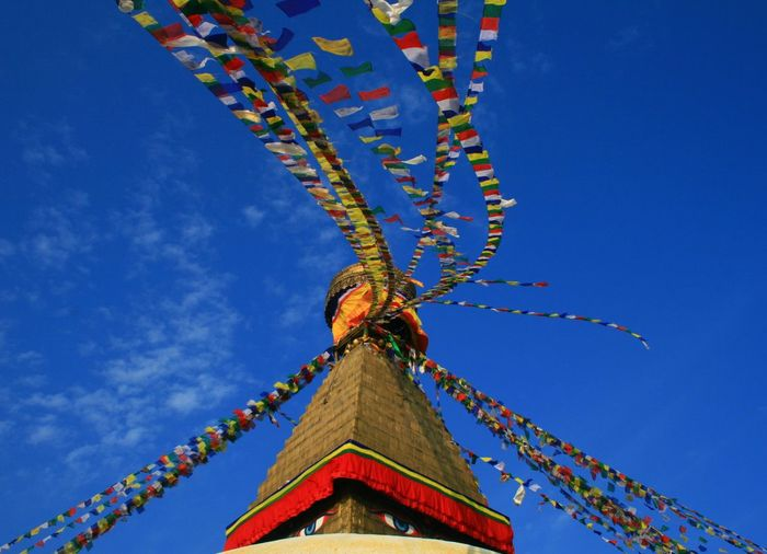 Boudanath Stupa Buddhism Colorful Day Low Angle View Multi Colored Nepal Prayer Flags  Sky Travel