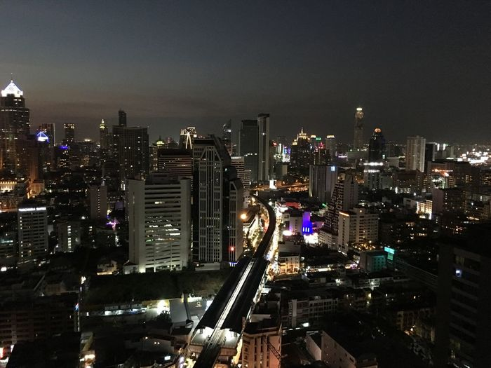 High angle view of cityscape against sky at night