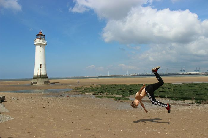 Messing Around Canonphotography Front Flip On The Beach Wirral New Brighton Moving Shot