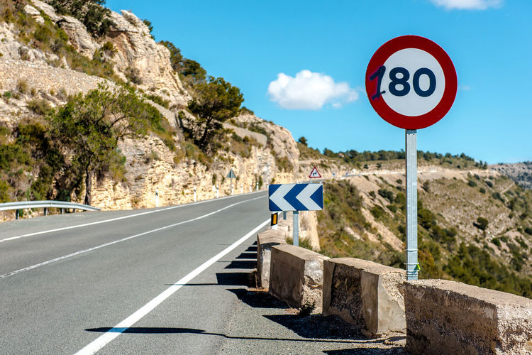 80 km/h speed limit sign on a mountain highway. Spain 180 Km\h 80 Km Asphalt Beauty In Nature Day Direction Directional Sign Highway Information Sign Landscape Limitation Mountain Mountain Road Nature No People Outdoors Road Road Sign Roadside Rock Sky SPAIN Speed Limit Sign Symbol Travel Destinations