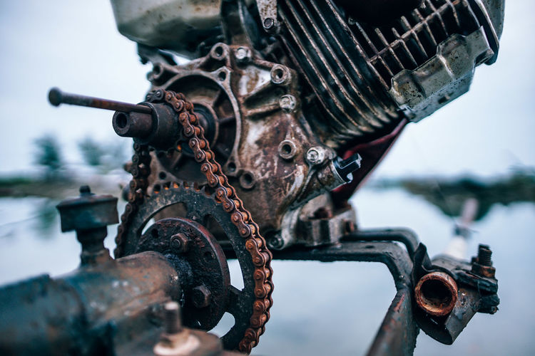 Close-up of old rusty machinery
