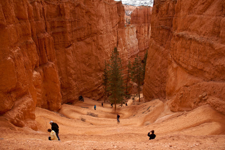 High angle view of people hiking at bryce canyon national park