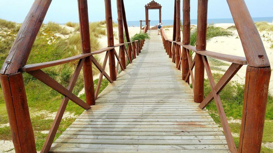 Sea Playa De Cortadura Andalucía Andalucia Spain Cadiz Beach . Beachphotography Cortadura Tranquility Idyllic Beach Plants Bridge Playa Verano Summer Wood Bridge Sand Arena SPAIN España South Spain Europe Atlantic Ocean