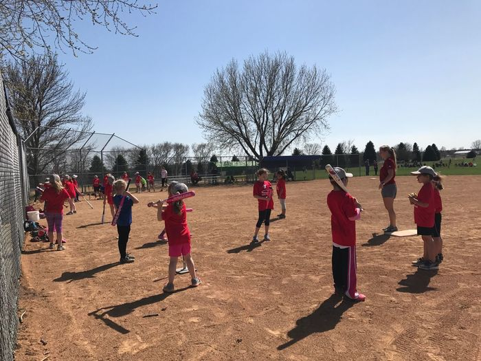 Spring Ball Team Youth Softball Group Of People Sky Real People Bare Tree Day Tree Nature
