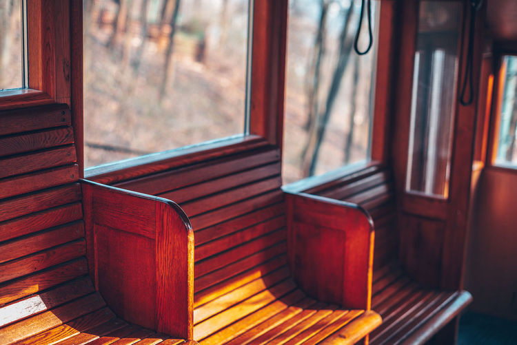 Lines Lines Absence Aged Architecture Brown Chair Day Empty Focus On Foreground Funicular Furniture Glass - Material Indoors  Interior Nature No People Seat Sunlight Table Transparent Window Wood Wood - Material Wood Interior The Architect - 2018 EyeEm Awards