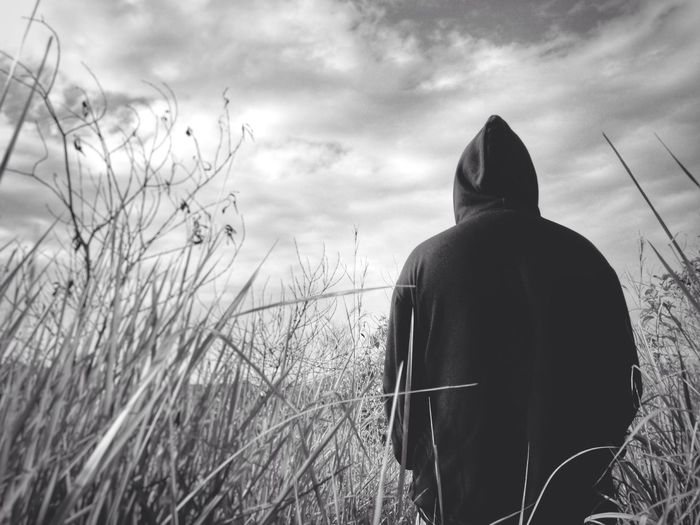 Monochrome Photography Black & White Rear View Sky One Person Real People Outdoors Men Nature Cloud - Sky Grass IMography IPhone Eyeem Philippines Morning Climb Hiking