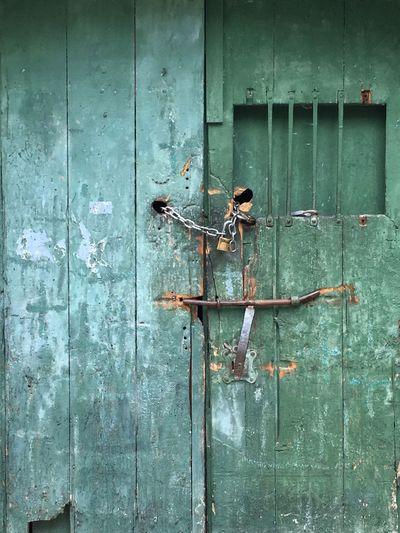 Green Wooden Closed Door